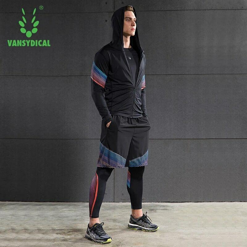 Hot mannen Running Sets 4 stks/set Compressie Sneldrogende Sport Suits Basketbal Panty Workout Gym Fitness Kits Jogging Sportkleding - 3