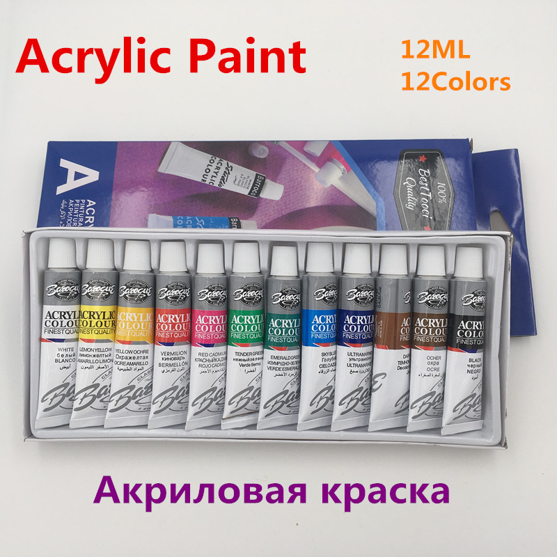 12 Colors 12ML Acrylic Paint Color Set Professional Acrylic Paints Pigment for Artists Nail Art Painting Drawing Tool цена