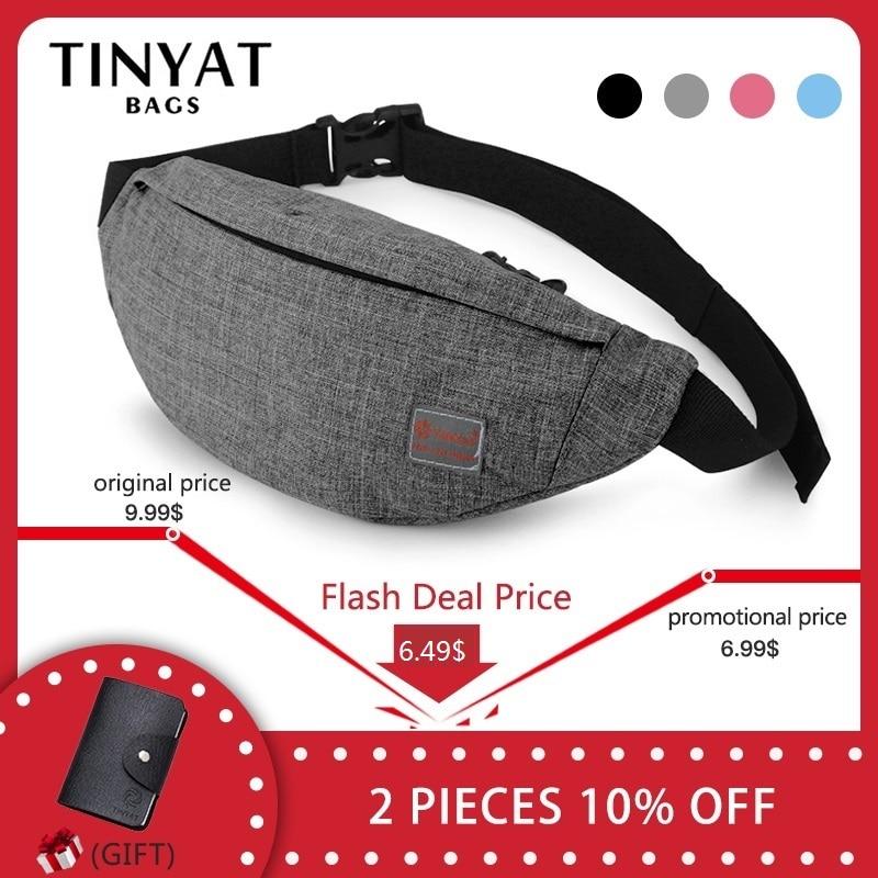 TINYAT hombres casuales funcional Fanny bolsa cintura bolsa dinero teléfono bolsa de T201 gris de lona Negro Bolsa de cadera bolsa de hombro cinturón