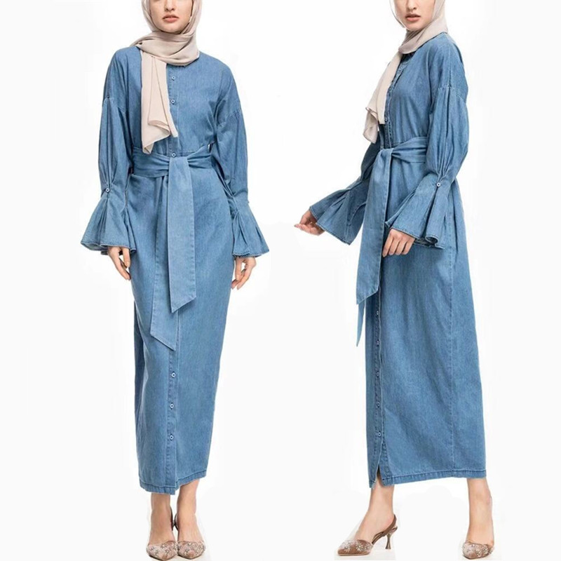 Muslim Girl Fashion Cowboy Dress Fashion Folding Sleeve Full Button Turkey Middle East Long Round Neck Denim Cardigan Dress in Islamic Clothing from Novelty Special Use