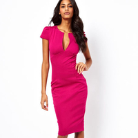 Sexy Pencil Dress Celebrity Style Fashion Wear To Work Pockets Knee Length Bodycon Slim Midi Dress
