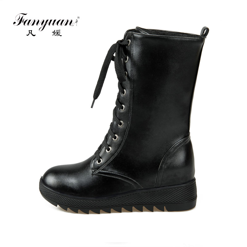 Fanyuan Autumn winter Wedges snow Boots Women Lace-Up leisure lace up Mid-calf winter boots White Martin Boots Student Shoes lace up slouch mid calf boots