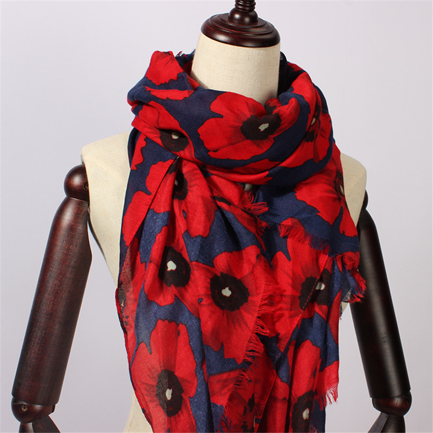 2020 Women Scarf Vintage Poppy Floral Viscose Scarves New Design Shawls And Wraps Lady Fringe Pashmina Muffler Hijab Foulard Cap