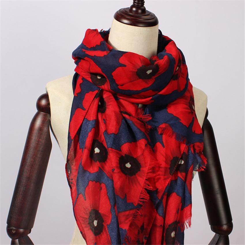 2020 Women   Scarf   Vintage Poppy Floral Viscose   Scarves   New Design Shawls and   Wraps   Lady Fringe Pashmina Muffler Hijab Foulard Cap