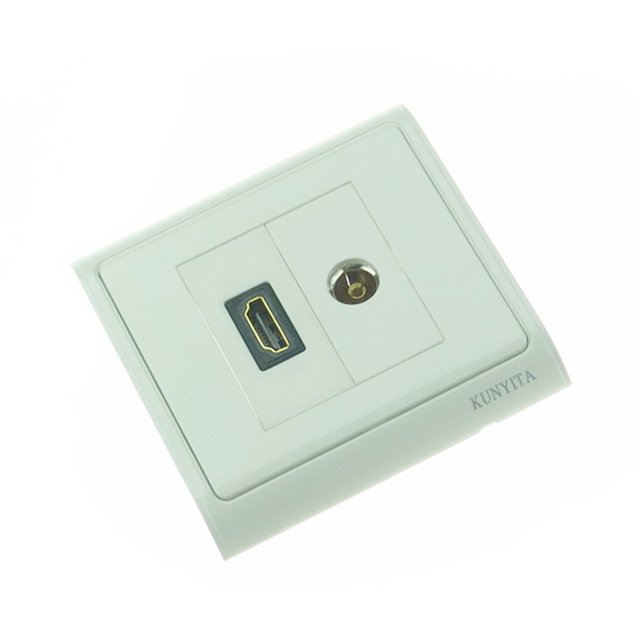 TV Coaxial Socket HDMI Outlet Wall Plate Panel Cover