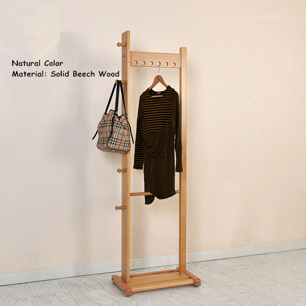 Modern Clothes Racks Stand Oak/Beech Wood 55x175cm Living Room Furniture Portable Bedroom Hat Hanger Standing Wooden Coat Rack