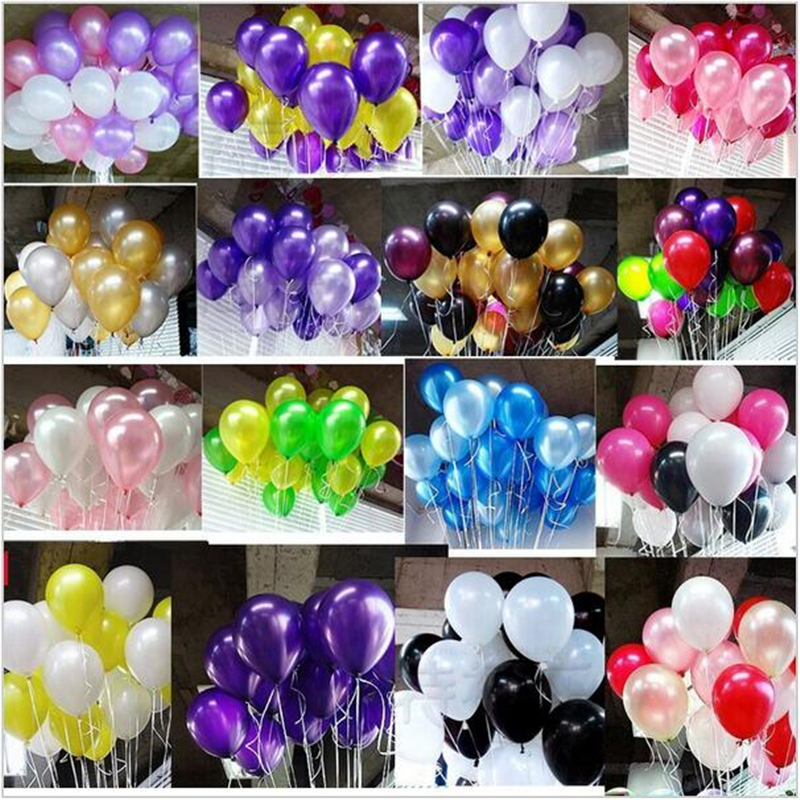 100pcs/lot 10 inch1.2g Latex balloon Helium Round balloons 15colors Thick Pearl