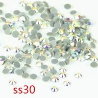 40 Gross AB Rhinestone SS30 Best Flatback Glass Strass Stone Iron On DIY Rhinestone Hot Fix Crystal Hotfix For Wedding Clothing