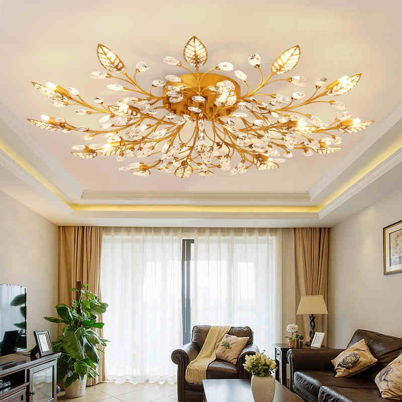 Modern K9 Crystal LED Flush Mount Ceiling Chandelier Lights Fixture Gold Black Home Lamps for Living Room Bedroom Kitchen k9 puppy gold