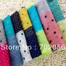 Для девочек женские 2 Tone точка шарф саронги хиджабы банданы шали обруча пончо 180*80 см смешанный цвет 12 шт./лот#3366