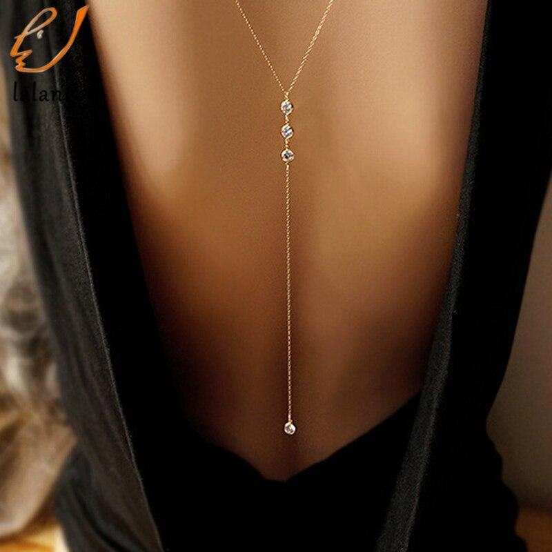 Women Body Chain Boho Beach Bikini Bib Crystal Wedding Summer Dress Backdrop Back Necklace Jewelry Body Jewelry