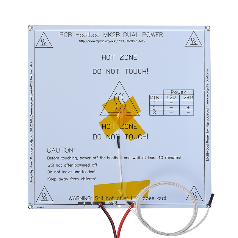 MK2B Heatbed 214*214*2MM PCB Board Hot Plate With Led Resistor Cable Reprap Mendel 3D Printer Heated Bed Like MK2A MK3