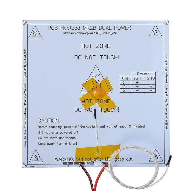 Mk2b heatbed 214*214*2mm placa do pwb placa quente com cabo de resistor led reprap mendel 3d impressora aquecida cama como mk2a mk3