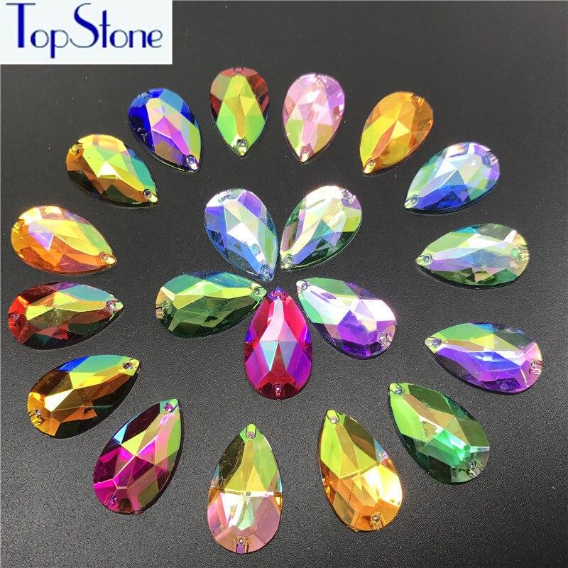 17x28mm 200pcs AB Colors Teardrop Acrylic Resin Sew On Rhinestones Flatback  Droplet Sew on stones Garments 8af233da2680