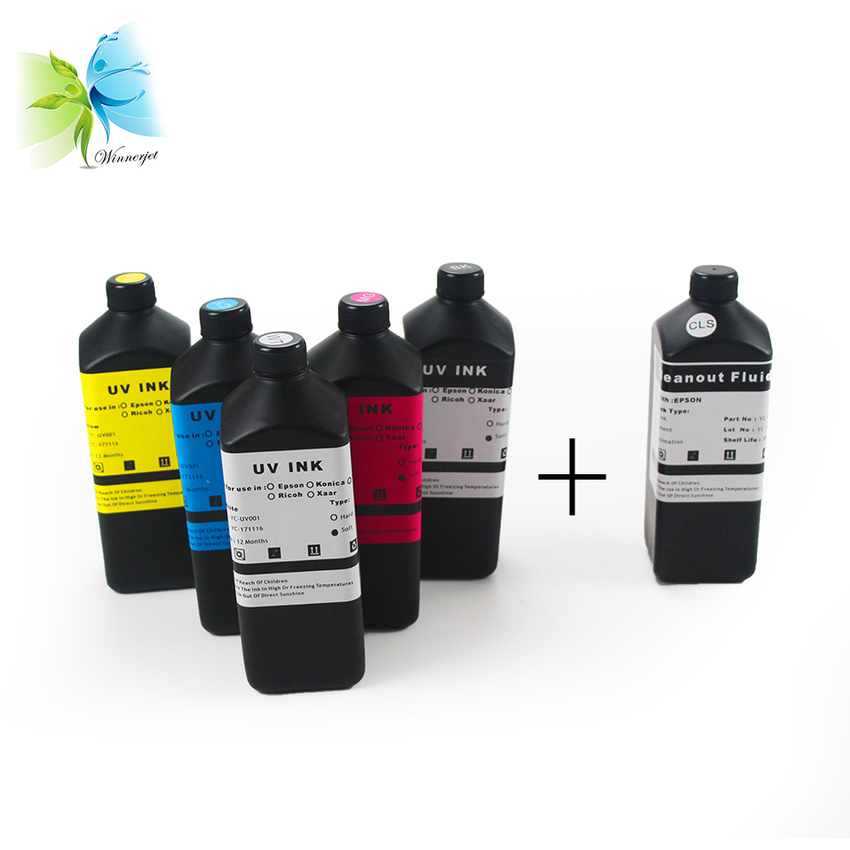 Winnerjet 1000ml BK C M Y and White Soft UV ink for epson dx5 printhead UV Flatbed Printer and 1 liter cleaning liquid in Ink Refill Kits from Computer Office