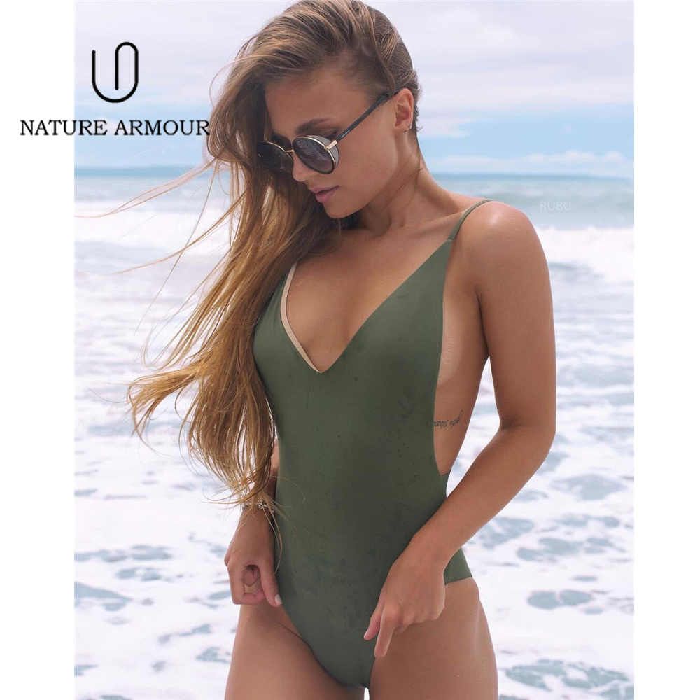 d3cd18b31ff Double Sided One Piece Swimsuit Sexy Deep V Cut Out Bathing Suit Women  Brazilian Body Suit