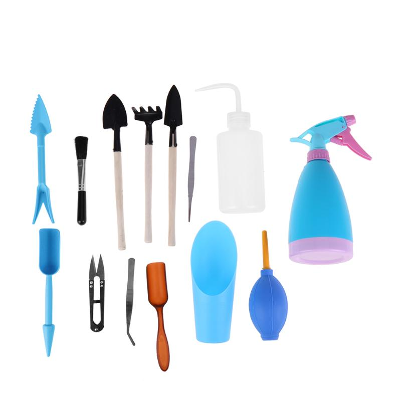 14pcs gardening tool set Multifunctiona kit ferramentas bonsai equipment fork shovel forceps spray bottle free shipping Green 3 pcs bonsai tool set jttk 19 long handle scissors round edge cutter tweezers master grade bonsai tools excellent quailty