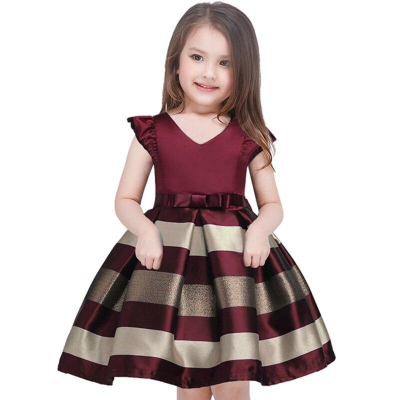 Детские Платье в полоску для девочек для торжественных случаев нарядные платья для свадьбы принцесса Дети vestidos костюм подростка детская Ко...
