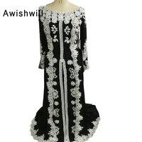 2019 вечерние платья с бисером шифоновые аппликационные кружева мусульманин вечернее платье одежда с длинным рукавом марокканской кафтан пл