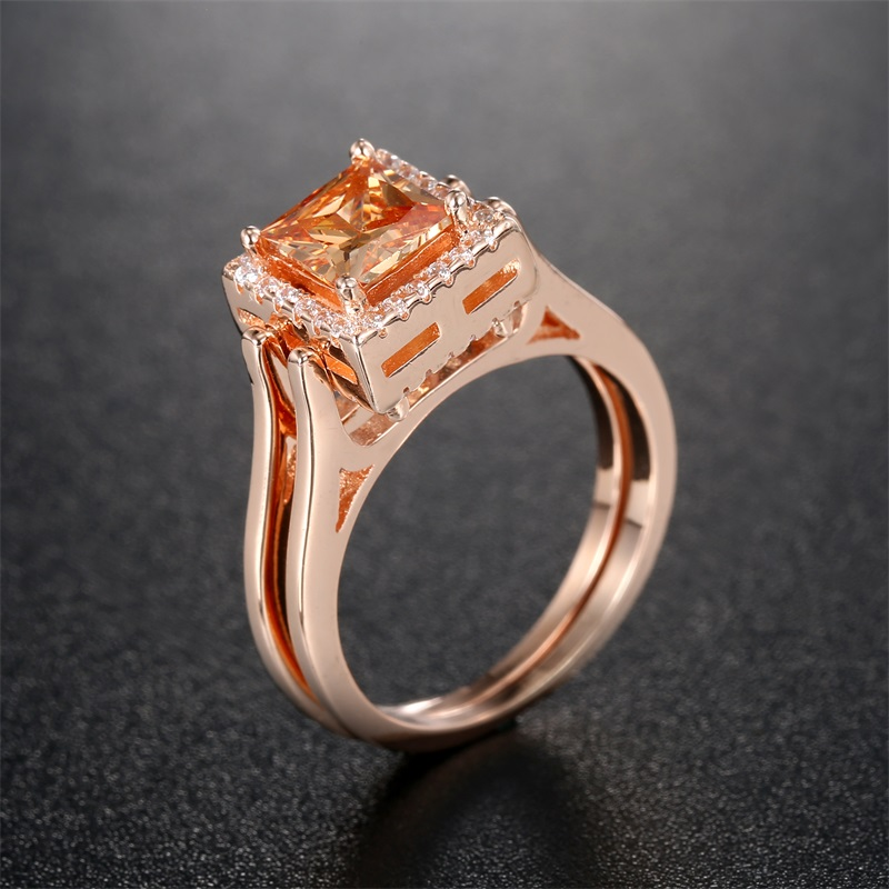 Lateefah Unique Two Sides Wedding Rings for Women Rose Gold Color Princess Cut Champagne and White CZ Female Rings Anel Bague