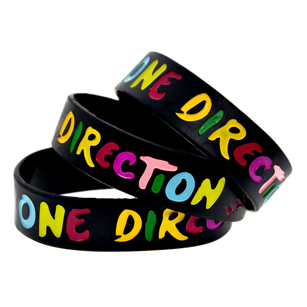 OneBandaHouse 1PC 3/4 Wide Rainbow Colour One Direction Silicone Wristband with Saying Harry, Liam, Niall, Louis, Zayn
