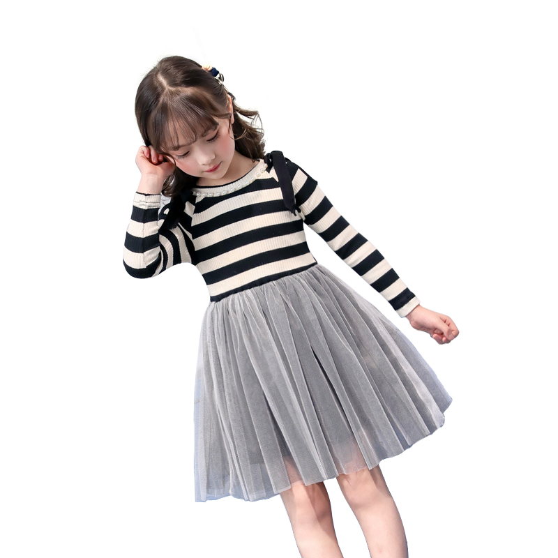 children dress 2018 new autumn winter 4 - 14 yrs teenage girls long sleeve dress princess party girl frocks striped knit dresses u back striped knit dress