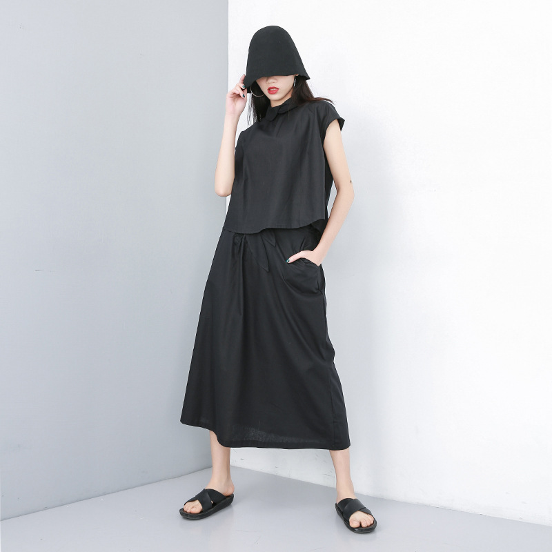 Jonature 2019 New Linen Solid Color Summer Two Pieces Sets Sleeveless Button Tops Pocket Skirt Streetwear Style Women Sets