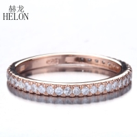 HELON Brilliant Anniversary Diamonds Band Solid 14K Rose Gold Pave 0.33ct Natural Diamonds Wedding Engagement Jewelry Ring