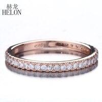 Helon Блестящий Юбилей бриллиантами группа Твердые 14 К розовое золото проложить 0.33ct Природные Алмазы Свадьба Обручение Jewelry Кольцо