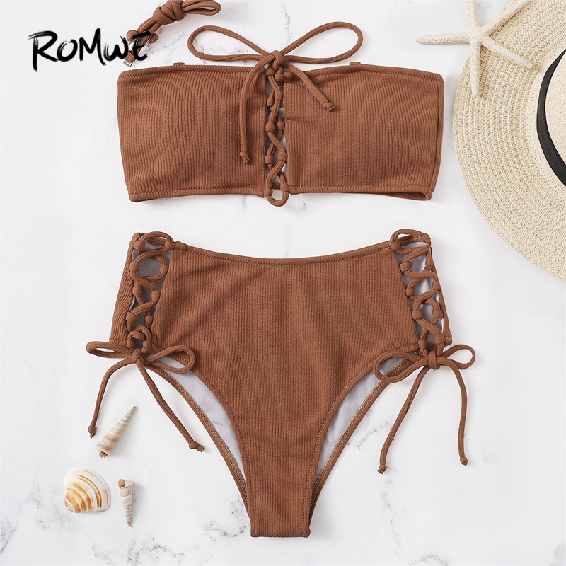Romwe Bandeau-Top Bikini-Set Two-Pieces-Suits Bottoms Sexy Sport Beach Women Summer