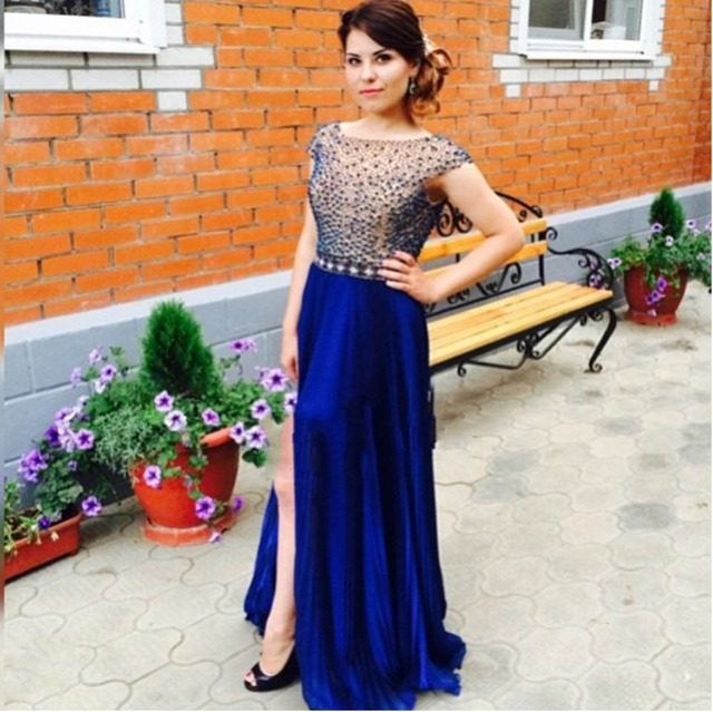 398fe8ff46 US $158.86 6% OFF|Plus Size Vestidos De Festa Luxury Long Navy Blue Pearls  Prom Dresses 2019 Sexy Backless Party Evening Gown Cap Sleeve Chiffon-in ...
