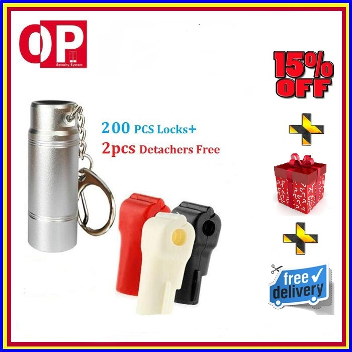 200pcs Anti-Theft Shop EAS Retail Security Red Hook Lock For Stem Hook+2pcs Detacher