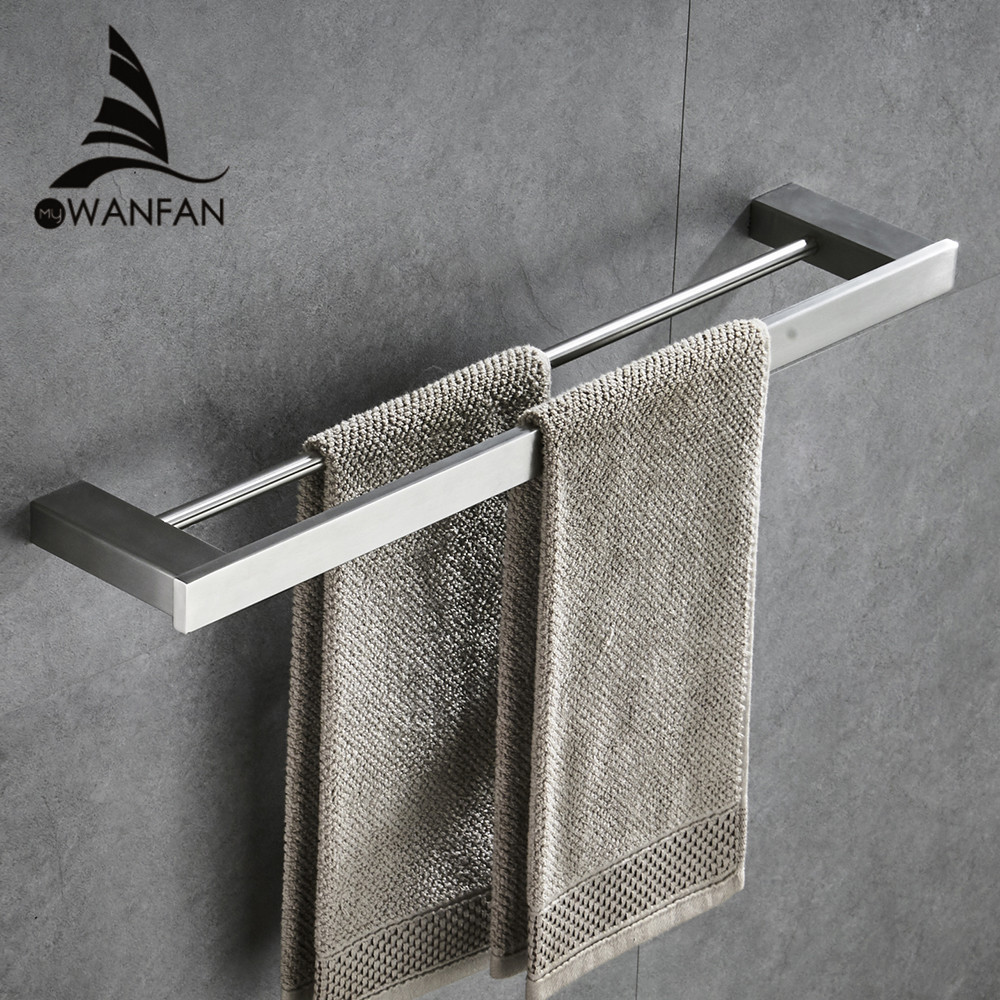Silver Color Wall Mounted SUS 304 Stainless Steel Double Towel Bars Bathroom Towel Hanger Bathroom Accessories Towel Rack 610011 free shipping bathroom accessories products solid 304 stainless steel nickel brushed double towel bars towel holder sus003