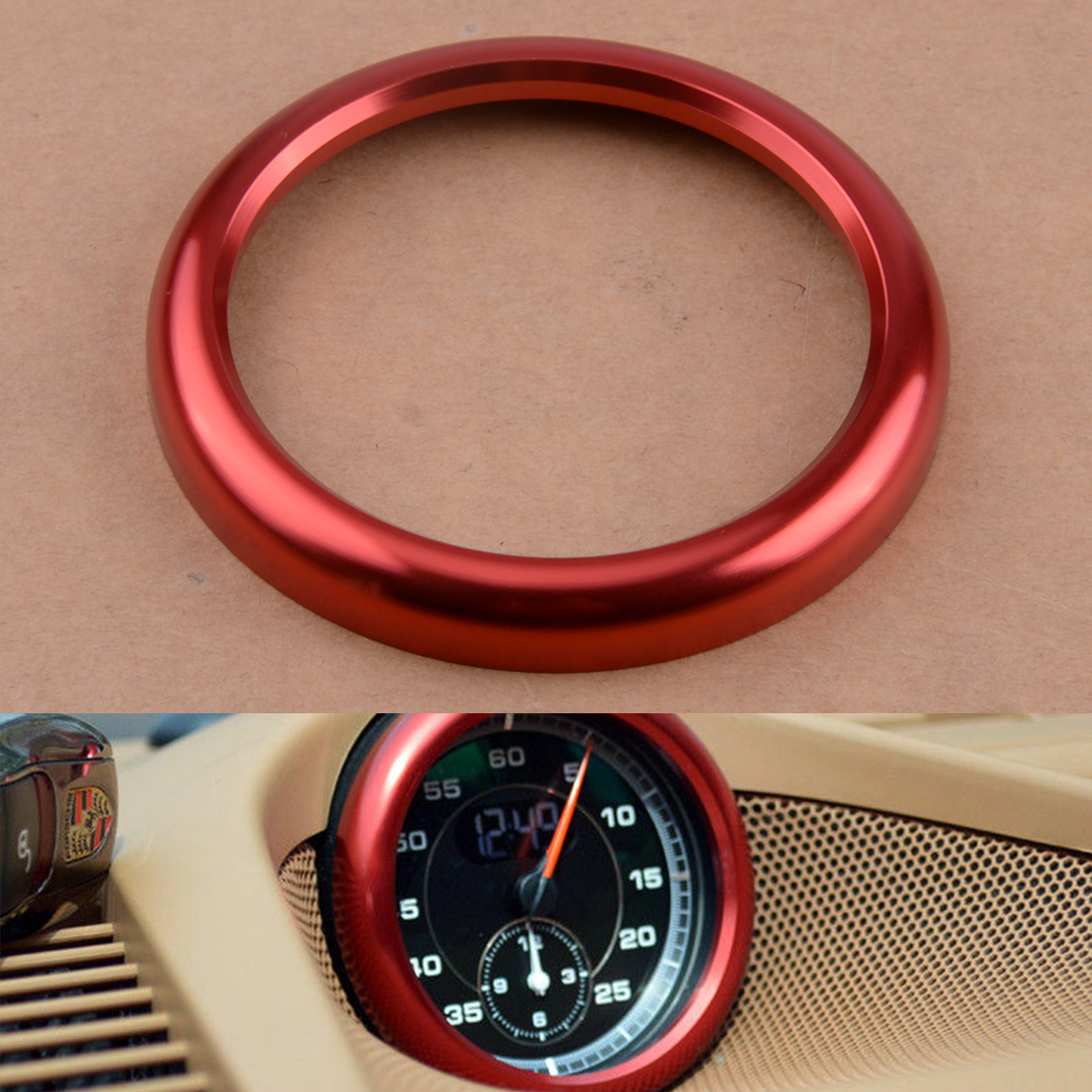 Rouge Alliage Center Dash Board Horloge Ring Trim Cover pour Porsche Cayenne 2019