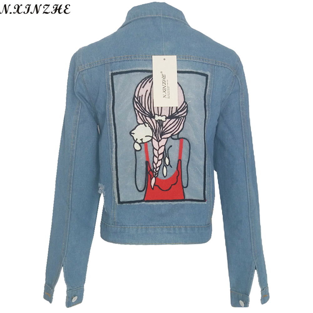 N. XINZHE Carácter chaqueta de mezclilla chaqueta denim 2017 Primavera Bolsillos