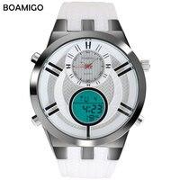 BOAMIGO Hot Simple Sport Mens Watches Dual Display Digital Watch Military Quartz Male Watch White Rubber Strap Wristwatch Hombre