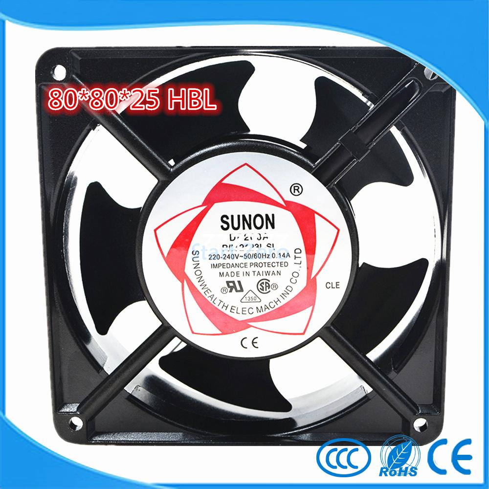 SUNON SF 8025 AT /  AC 220  Axial Flow Fan 2082 HBL Industrial Cooling Fan 2 Wires 80*80*25mm Double Ball Bearing