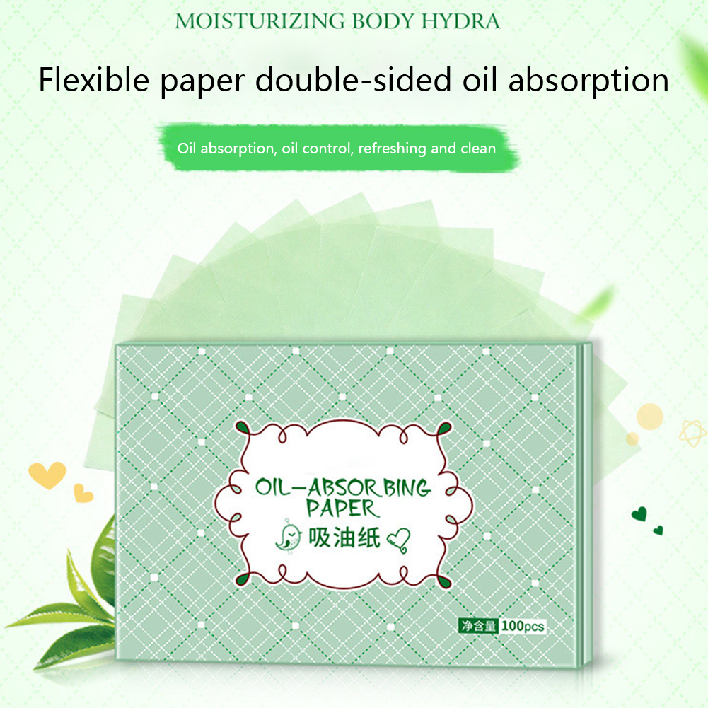 100Pcs Blotting Mild Comfortable Skin Care Soft Facial Clean Professional Oil Absorbing Paper Make Up Face Tool Green Tea Smell