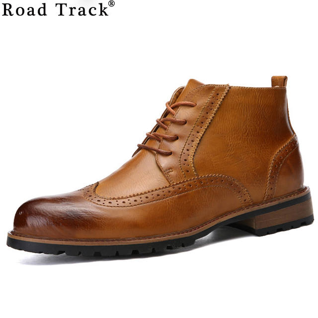 Road Track Men Boots Leather Lace Up Front Men Ankle Boots Round Toe Low Heel Botas Men Solid Brogues Print Boots XMF0118-5