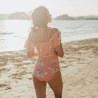 2018 One Piece Swimsuit Women Ruffle Swimwear Sexy One Shoulder Off Bodysuit Summer Beach Bathing Suit