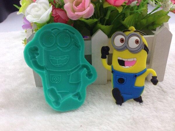 Nueva Despicable Me Minions DIY Pastel Fondant de Silicona Del Molde Del Chocol