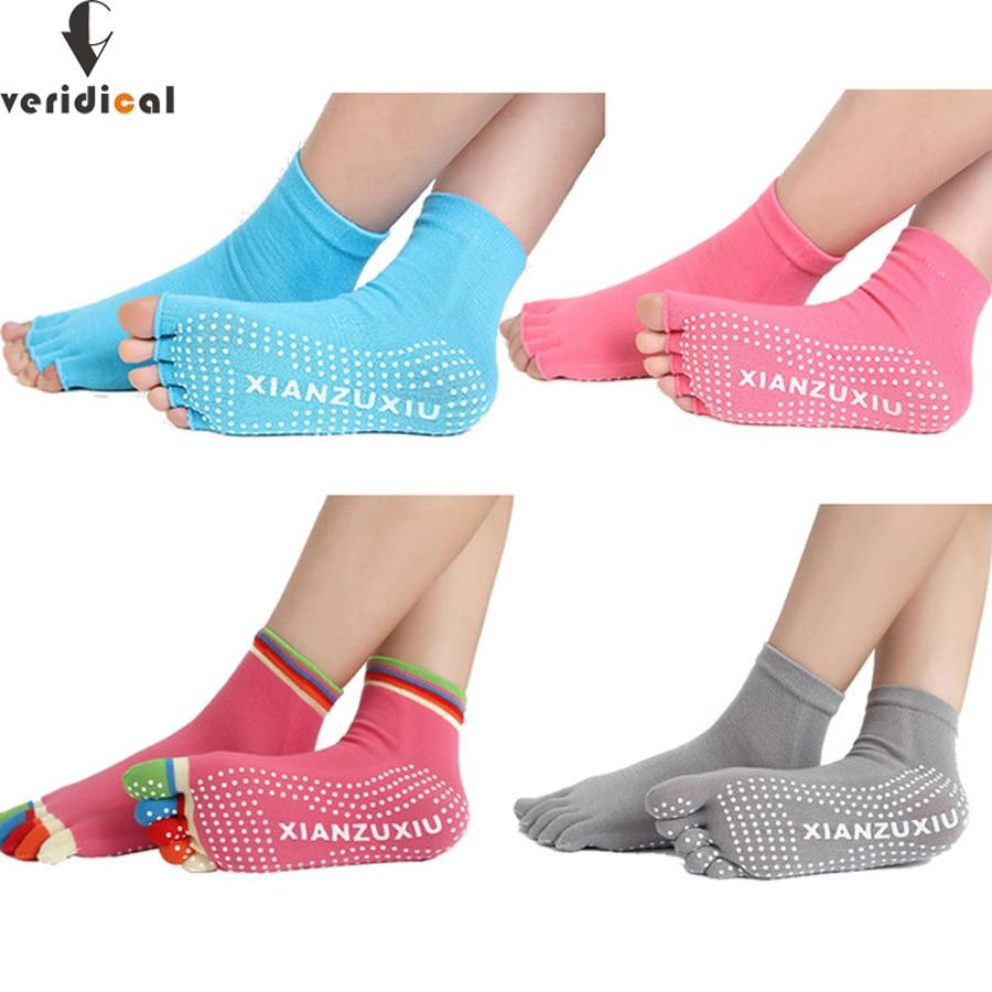 5 poros penkių pirštų kojinės - medvilninė neslidžios orui kvėpuojančios kojų pirštų atvėrimo kojinės spalvingos Profesionalios vėsios kojinės šlepetės