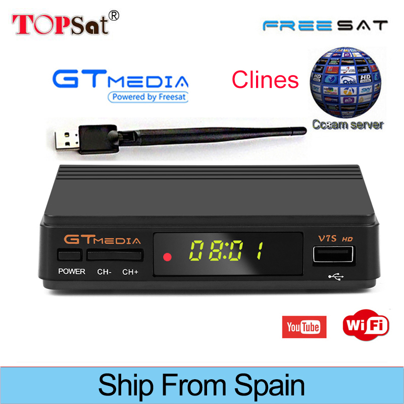 Freesat V7S HD Receptor DVB-S/S2 FTA Satellite Receiver HD+USB WIFI support YouTube, Biss key,Clines PK FREESAT V7 HD [genuine] freesat v7 dvb s2 hd with usb wifi satellite tv receiver support powervu biss key cccamd youtube youporn set top box