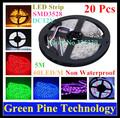 Free Shipping 20 pcs SMD 3528 60 LED / M RGB Strip 5M 300 LED DC12V Non Waterproof flash string light LED tape Strip Lighting