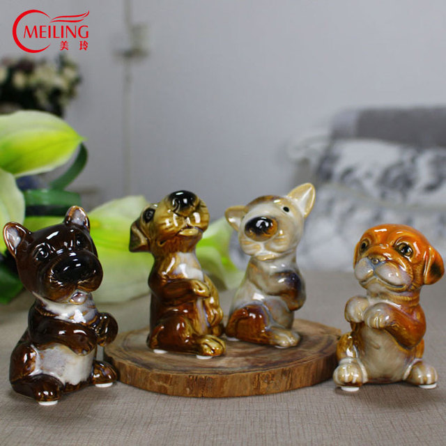MEILING Set Of 4 Ceramic Dog Figurine Decoration Home Small Handmade Dog  Statues For Garden Decoration
