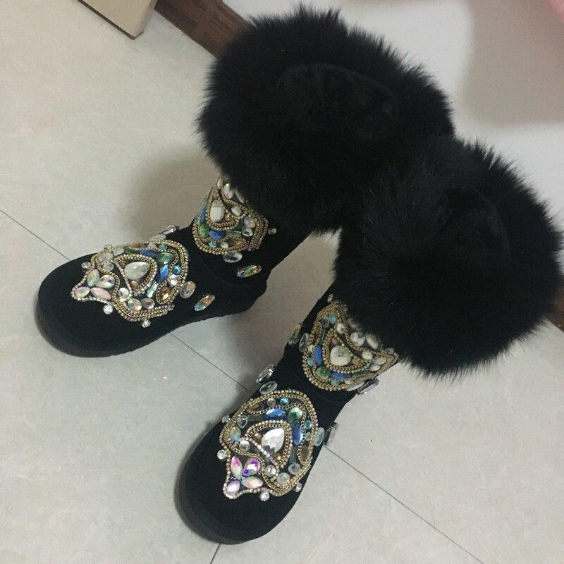 Mujer Hiver Peluche Chaussures Chaude Botas Femelle Color Fabriqué Mode Bottes Neige À Luxe rose Femmes De Fourrure noir Cristal Sand Véritable Cuir Main La En rZRUrA