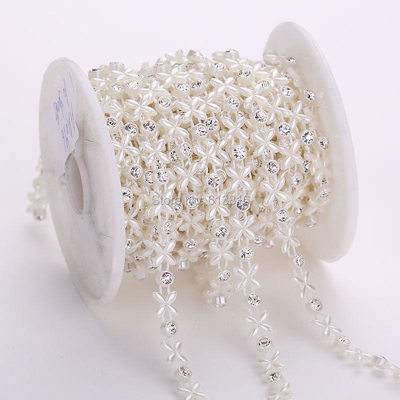 4mm + 6mm 10 yardů šití drahokamu Flat Back plast ABS perleťové korálky řetězec slonovinový řetězec pro svatební šaty oblečení řemeslo