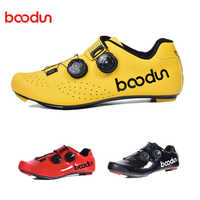 BOODUN New Ultralight Cycling Road Shoes Carbon Fiber Self-Locking Pro Bike Shoe Breathable Bicycle Racing Athletic Sneakers Men