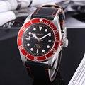 Механические Автоматические Мужские часы 41 мм с черным циферблатом  красным/черным/синим ободком  сапфировым стеклом