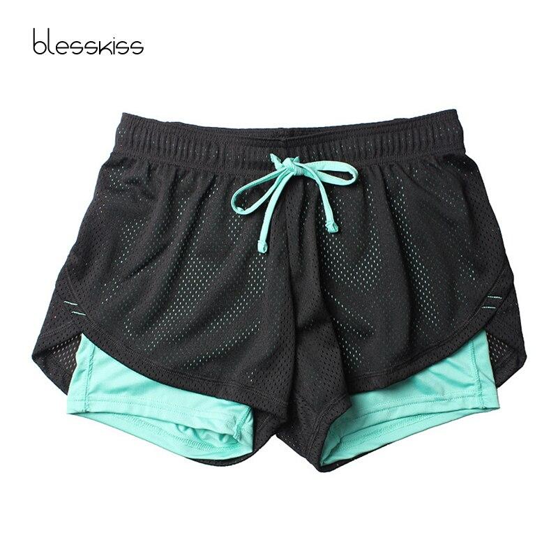 @1  Blesskiss Yoga Shorts Женщины Фитнес Топ Spandex Neon Эластичный Лулу Бег Тренировки Короткие Леггин ①
